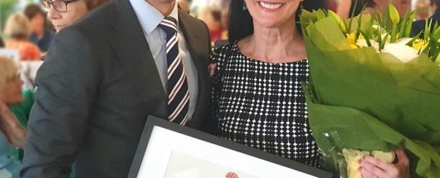 Rob Stokes MP with 2020 Pittwater Woman of the Year Roberta Conroy